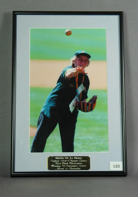Photograph of Shirley Strickland participating in Baseball First Pitch ceremony, 2000 Olympic Games