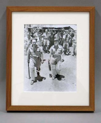 Photograph of Keith Truscott during an RAAF cricket match, 20 Jan 1943; Photography; Framed; M13077