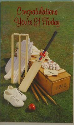 """Unused greeting card, cricket-theme:  """"Congratulations You're 21 Today"""""""