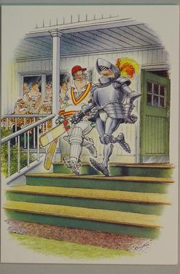Unused greeting card, cricket-theme: 'Knight Cricket' drawn by Bill Kimpton