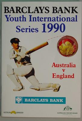 Programme - Youth International Series 1990, Australia v England - autographed by English cricketers; Documents and books; M3156