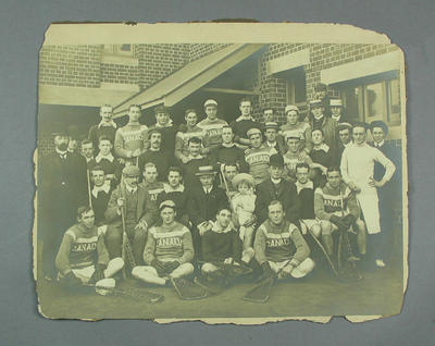Photograph of Australian & Canadian lacrosse teams at MCG, 27 July 1907