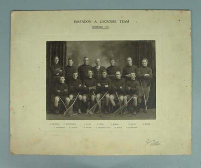 Photograph of Essendon lacrosse team, Premiers 1911; Photography; 1987.1857.7