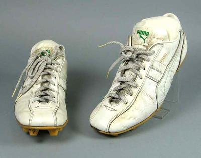 Pair of white leather football umpire boots, c1980s