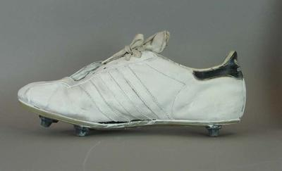 Pair of White and Black Leather Boundary Umpire's Shoes