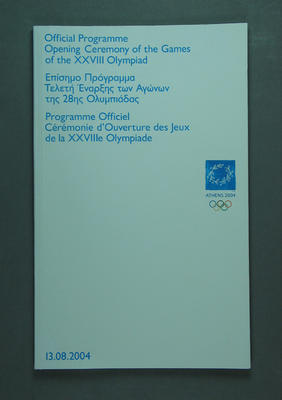 Programme, 2004 Olympic Games Opening Ceremony