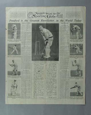 """Supplement to the Sporting Globe, """"Ponsford is the Greatest Run-Getter in the World Today"""" - 8 Feb 1928"""
