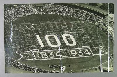 Photograph of Melbourne Cricket Ground, Centenary of Victoria schoolchildren display - 1934