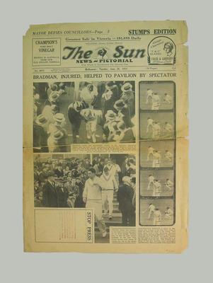 Newspaper - The Sun News-Pictorial 26 June 1934 - D.G. Bradman & Australian v England; Documents and books; M3132