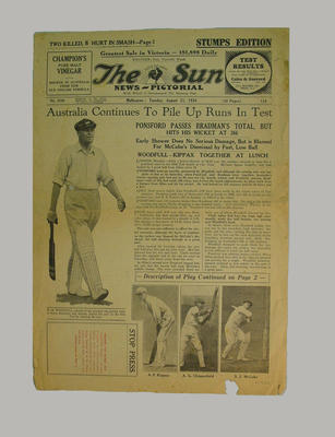 Newspaper - The Sun News-Pictorial  - 21 August 1934 re 5th Test series in London