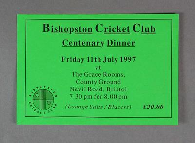Invitation, Bishopston Cricket Club Centenary Dinner - 11 July 1997