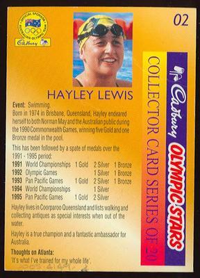 1996 Cadbury Olympic Stars Hayley Lewis trade card