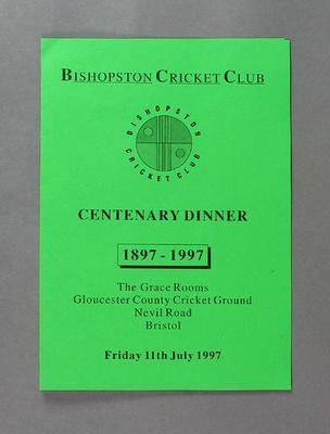 Menu, Bishopston Cricket Club Centenary Dinner - 11 July 1997