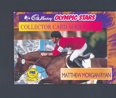 1996 Cadbury Olympic Stars Matthew Morgan Ryan trade card