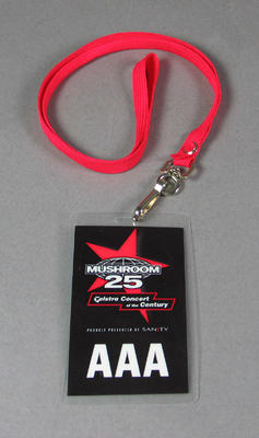 Staff pass issued to John Lill, Mushroom 25th Anniversary concert