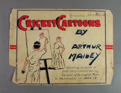 Cover for booklet:   'Cricket Cartoons' by Arthur Mailey  c. 1925