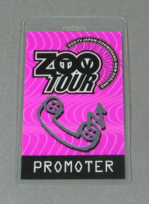 Staff pass issued to John Lill, U2 Zoo concert