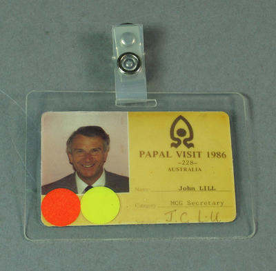Staff pass issued to John Lill, Papal Visit 1986