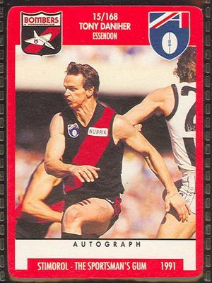 1991 Stimorol Australian Football Anthony Daniher trade card