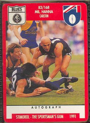 1991 Stimorol Australian Football Mil Hanna trade card