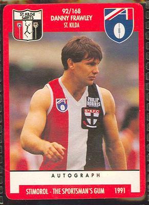 1991 Stimorol Australian Football Danny Frawley trade card