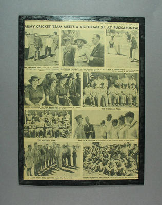 """Newspaper clipping, """"Army Cricket Team Meets a Victorian XI"""" - 1942"""