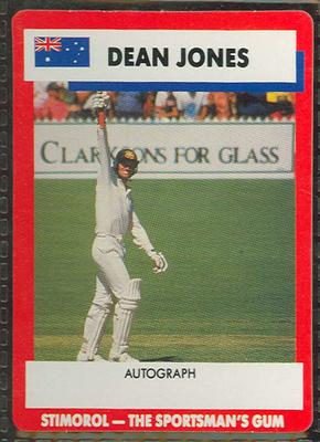 1990 Stimorol Cricket Stumpers Competition Dean Jones trade card