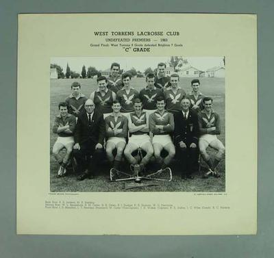 Photograph of West Torrens Lacrosse Club, C Grade Premiers 1963