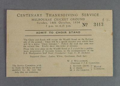 Ticket, Centenary Thanksgiving Service - Melbourne Cricket Ground, 14 Oct 1934