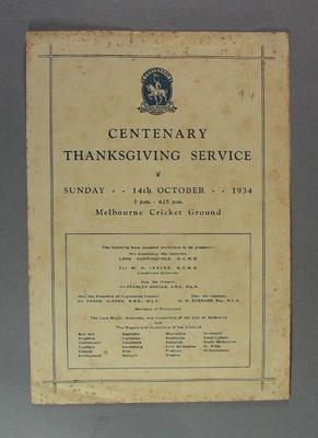 Programme, Centenary Thanksgiving Service - Melbourne Cricket Ground, 14 Oct 1934