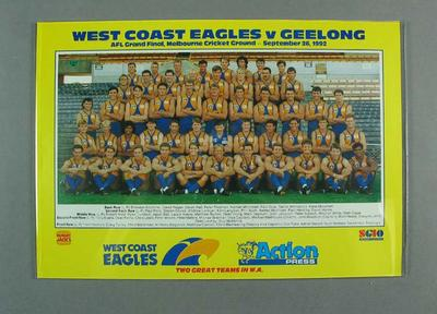 Poster, West Coast FC 1992 AFL Grand Final