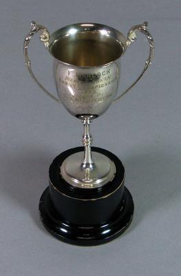 "Trophy, ""Highest Break Sprint Championship 1933"" won by Fred Hancock"