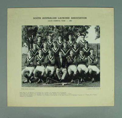 Photograph of South Australian Colts Lacrosse team, 1963