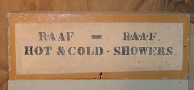 Concrete sign, MCG - Southern Stand - RAAF Showers c1940s