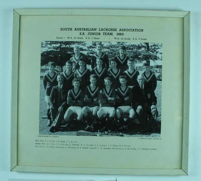 Photograph of South Australian Junior Lacrosse team, 1962