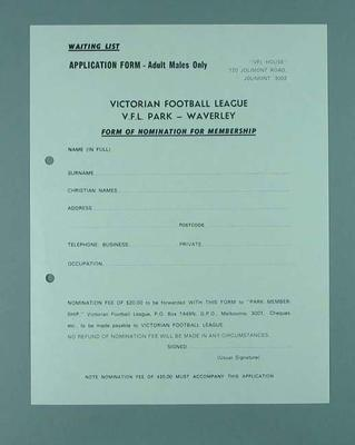 Victorian Football League Nomination for Membership form - Male