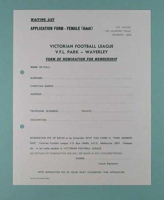 Victorian Football League Nomination for Membership form - Female