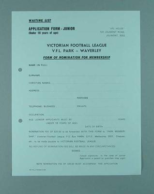 Victorian Football League Nomination for Membership form - Junior