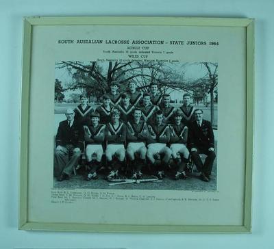 Photograph of South Australian Junior Lacrosse team, 1964