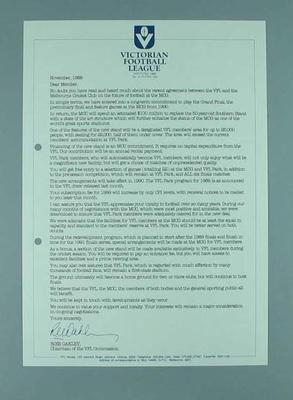 Victorian Football League - circular letter to Members dated November 1988