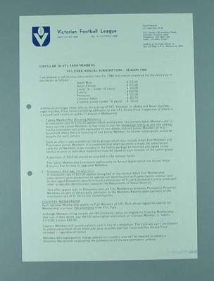 Victorian Football League - circular to Members dated November 1985 re. VFL Park Annual Subscriptions - Season 1986