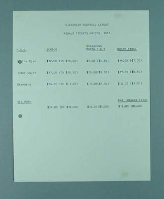 Victorian Football League -  Final Ticket prices 1982