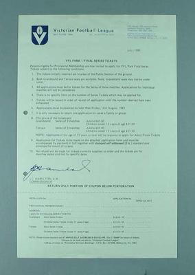 Victorian Football League: VFL Park - Final Series Tickets circular dated July 1985