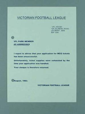 Victorian Football League - form advising  application for MCG  tickets was unsuccessful, August 1983