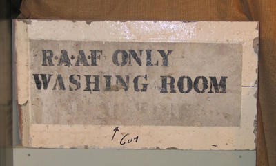 Concrete sign, MCG - Southern Stand - RAAF Washing Room c1940s