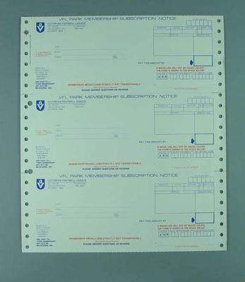 VFL Park Membership Subscription Notice - 1 sheet, 3 unperforated sections.