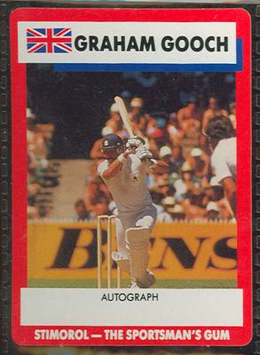 1990 Stimorol Cricket Stumpers Competition Graham Gooch trade card; Documents and books; M13154.6