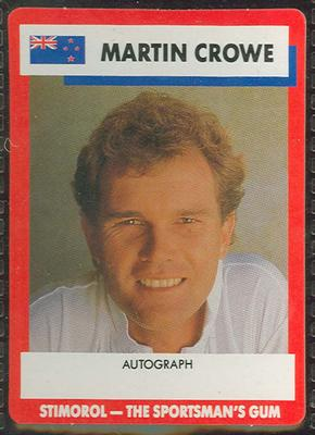 1990 Stimorol Cricket Stumpers Competition Martin Crowe trade card