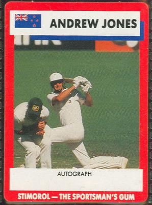 1990 Stimorol Cricket Stumpers Competition Andrew Jones trade card