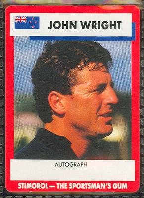 1990 Stimorol Cricket Stumpers Competition John Wright trade card